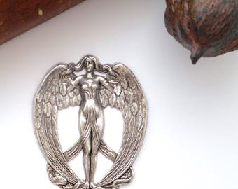 ANTIQUE SILVER * Angel Lilith Winged Goddess Stamping ~ Jewelry Finding (C-304)