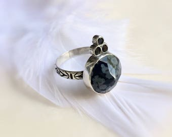 Sterling Silver Gemstone Ring Obsidian & Black Spinel ring Gift for Her size 6.5 Ready to Ship Pyramid Ring Crystal Healing Ring