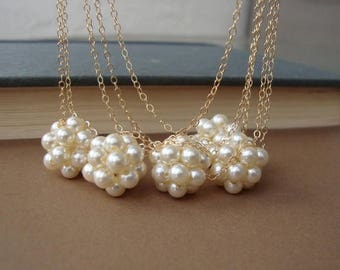 ON SALE Pearl Cluster Necklace, Swarovski Pearls, Gold Filled, Bridal, Bridesmaids, Wedding Fine Jewelry, Romantic Bride