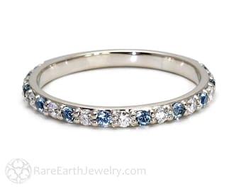 Aquamarine Ring Aquamarine Anniversary Band Diamonds Aqua Wedding Band 18K Gold Stackable Ring March Birthstone Ring Gemstone Ring