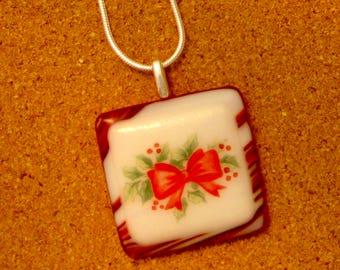 Christmas Pendant - Fused Glass Pendant - Holly Pendant - Holiday Jewelry - Holiday Pendant