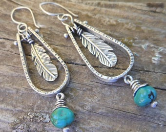 Sterling Silver and Turquoise Feather Earrings