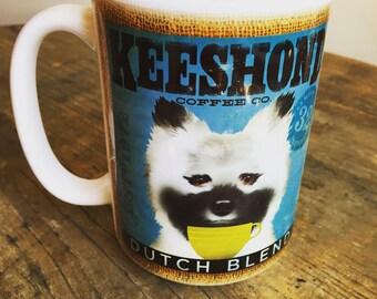 Keeshond dog Coffee company graphic art MUG 15 oz ceramic coffee mug