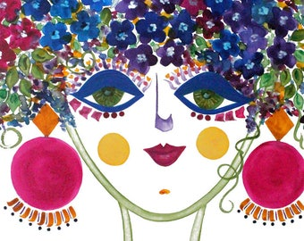 Meet Violet! A Gypsy Garden Girl - Carmen Miranda Inspired Face - Print from Original Watercolor Painting by Suzanne MacCrone Rogers