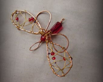 Red Crystal Butterfly Pendant Suncatcher