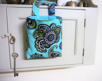 Thread Catcher -  Craft Caddy -  Turquoise Paisley Print   -  Handmade