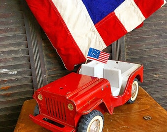 It's A Jeep Thing...  Vintage Tonka Red Jeep Toy Pressed Steel Children Nursery Decor Home Decor