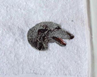 Deerhound Hand Towel, Embroidered Towel, Dog Gift, Deerhound Towel