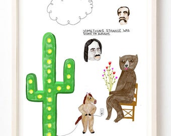 Random Art, Humor, Bear, Writing, Quirky, Cactus, Books, Horse, Unique Wall Art, Something Strange Was Going On Alright- Fine Art Print