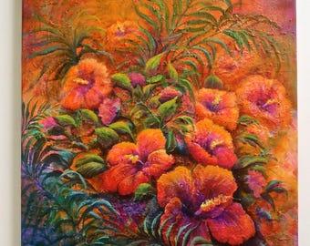 "Original 18""x24""acrylic on canvas ""Tropical Floral"""