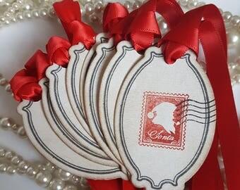 Red Christmas Tags, Traditional Christmas, Vintage Tags, Red Ribbon, Christmas 2017, Rustic Christmas, Santa Gift Tags, Christmas Stamps