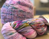 Reserved for Gigi  - Unicorn Treats Hand Dyed Superwash Merino Yarn Knit Crochet Weave Supplies