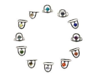 Zodiac Birthstone Ring // sterling silver