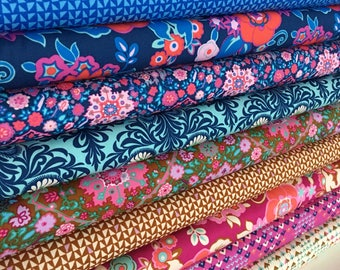 Amy Butler Soul Mate Fabric, Girl Nursery Ideas, Teen Quilt Gift, Gift for Quilter, Floral Decor, Fabric Bundle of 10- Choose the Cut