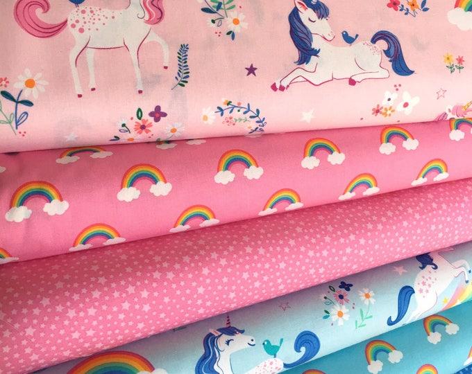 Unicorn fabric, Rainbow fabric, Kids fabric, Girls Quilt fabric, Happy Little Unicorn Fabric Bundle of 6- Choose the Cut