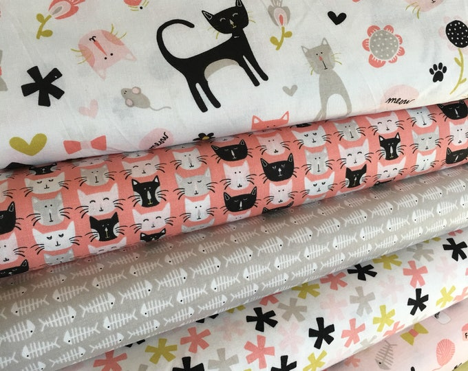 Cat Fabric, Cat Lady fabric, Gift for Pet, Pet Lover, Cat Lover, Meow by Riley Blake, Fabric Bundle of 6 - Choose the Cut