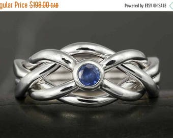 MATERNITY LEAVE SALE Narrow puzzle ring in sterling silver with natural sapphire - Size 9 ready to ship