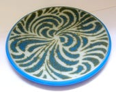 Blue and Cream Swirl Pattern Small Fused Glass Dish