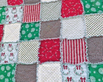 Rag Quilt - Christmas Lap Quilt - Red and Green - Candy Canes - Wreaths - Stripes - Peppermints - Ornaments - Christmas Trees