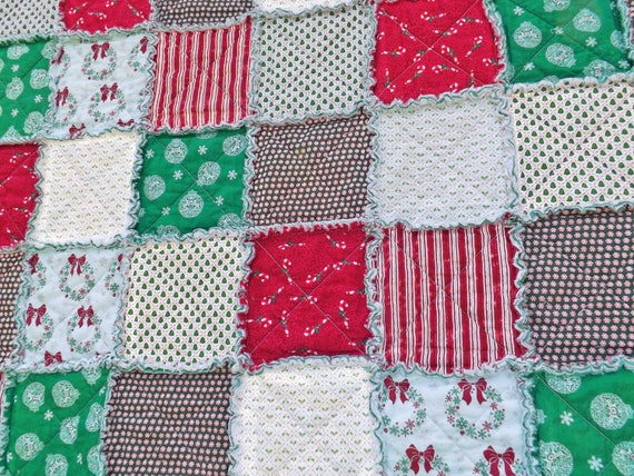 Christmas Lap Rag Quilt made with Red and Green Christmas Fabrics