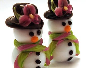 Top Hat Pink and Lime Floral Snowmen Pair