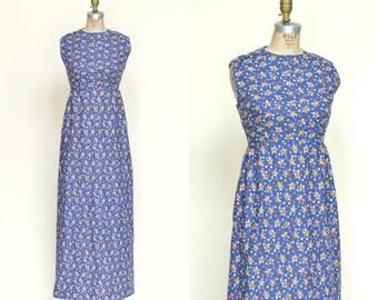 20% OFF 1960s Calico Maxi Dress --- Vintage Blue Dress