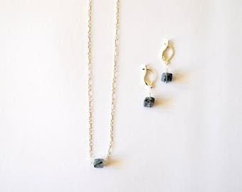 Blue Silver Cube Jewelry Set / Modern Geometric Square/Cube Blue and Black Rutilated Quartz Gemstone Sterling Chain Necklace Earring Set