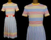 Vintage 60s Mod Dress, 1960s Stripe Dalton Day Dress with Belt, Size XS to S, Extra Small to Small