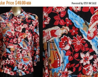 ON SALE Vintage Loco Lindo Blouse, 1990s Rayon Crepe Travel Novelty Print Shirt, Made in California USA, Size M Medium