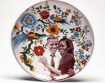 Handmade plate featuring The Obamas