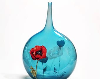Glass Lecca Lecca Bottle in Blue -- collaboration with John Geci