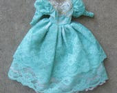 Barbie Clothes Turquoise Green Lace Dress