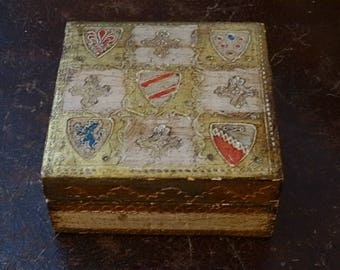 Square Gold Florentine Box with Shields Made in Italy