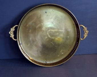Round Brass Tray Pierced Edge Floral Handles 11 Inches