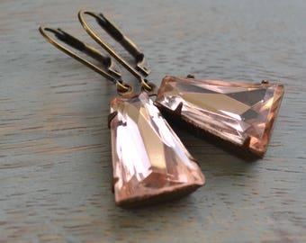 Light Pink Keystone Rhinestone Earrings, Art Deco Glass Estate Earrings, Lever Back, Rosaline Rhinestone, Antiqued Brass, Bridal Earrings