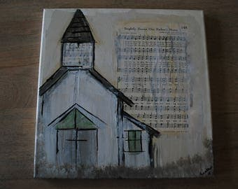 Brightly Beams our Fathers Mercy Rustic Hymnal Church Painting  - 12 x 12