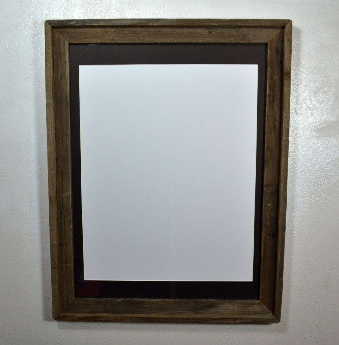 18x24 Rustic Wood Frame With Black Mat For 16x20 11x17