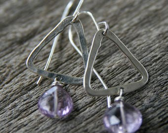 amethyst earrings, geometric earrings, triangle earrings, purple earrings, sterling silver amethyst earrings, ckb, ckb creations
