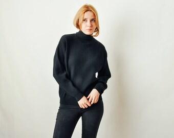 Vintage Rib Knit Turtleneck Sweater