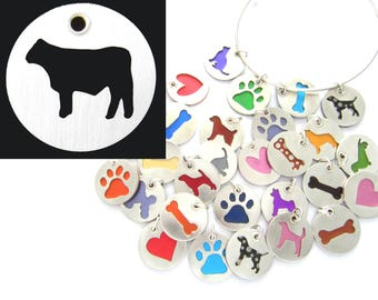 Angus Cow Sterling Silver Necklace Pendant Charm - Lots of Colors