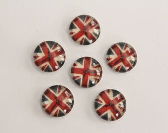 Glass Cabochons - British Flag Red White Blue Union Jack Clock Design . 12mm (6)