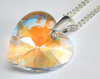 Large Blue White Swarovski Heart Necklace - Blue Aurora Borealis Crystal - Pale Blue Crystal Necklace - Swarovski Elements - Crystal Heart