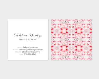 Peach, Salmon + Grey Tiled Marble  Calling Cards | Business Cards | Blogger Cards | Set (50)