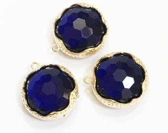 2 Dark Blue glass faceted flat round pendant with brass frame, Blue glass pendant 22x20mm, gold plated brass framed glass pendant