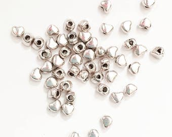 100 silver plated alloy spacer beads, silver heart spacer beads 3x3mm