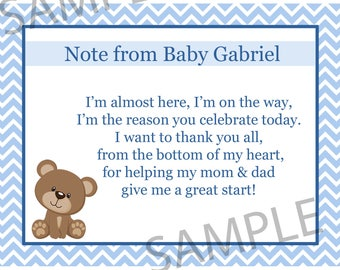 20 Personalized Baby Shower Thank You Cards - BLUE Teddy Bear Baby Shower - Bear Party Thank You Cards - Custom Wording