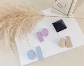 THE TAOS | Handmade Clay Earrings | Lightweight | Asymmetric | Minimalist | Pastel