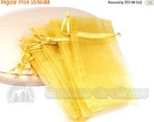 "40% Retirement Closeout - Organza Gift Bag, Gold,  5x9.5"", 12 Bags, 3PO40-0094"