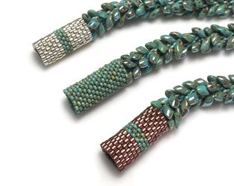Kumihimo Bracelet with Long Magatamas Kit - Braided Bracelet with Peyote Sleeve over Clasp - Kumihimo Tutorial - Bracelet Kit - Turquoise