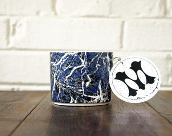 Soy Candle. Wild Honey Scent. Honey Candle. Marble Design Mug. Blue Marble Design. Unique Candle Scent. Scented Vegan Candle.